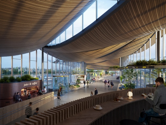 BIG's plans include a wooden ceiling that looks like billowing sails