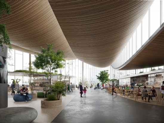 A zigzag structure in the roof eliminates the need for internal pillars