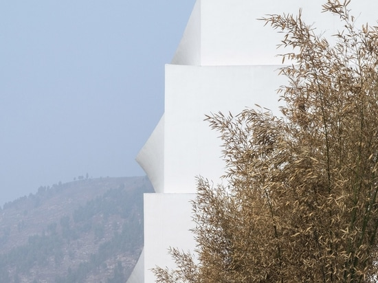The walls of the hotel's balconies project outwards
