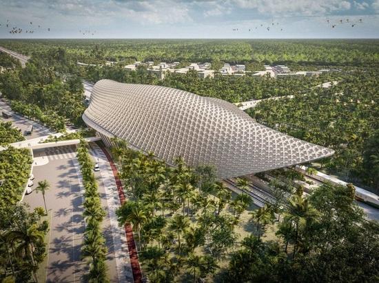 Aidia Studio has designed a latticed roof for the Tulum train station