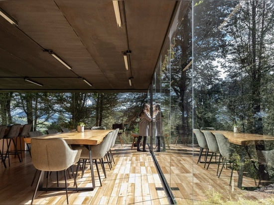 The glass extension continues an open-plan kitchen, dining and living space