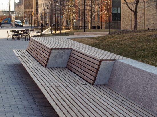 Extra-long seating elements for university campus in Philadelphia