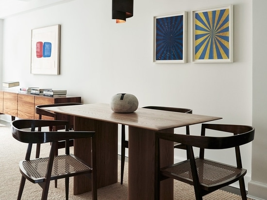 Featured: Bespoke dining table by Sandra Weingort fabricated by Casey Johnson Studio; Dining chairs by Joaquim Tenreiro circa 1960 from Bossa Furniture; Pendant lamp by Jørn Utzon circa 1960 from G...