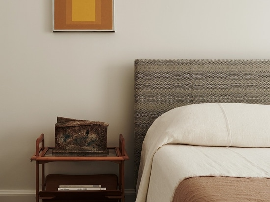 Featured: Bedside table by Ico Parisi circa 1953 from Mass Modern Design; Vase by Rémi Bonhert circa 1980 from Magen H Gallery; Artwork by Josef Albers from David Zwirner.