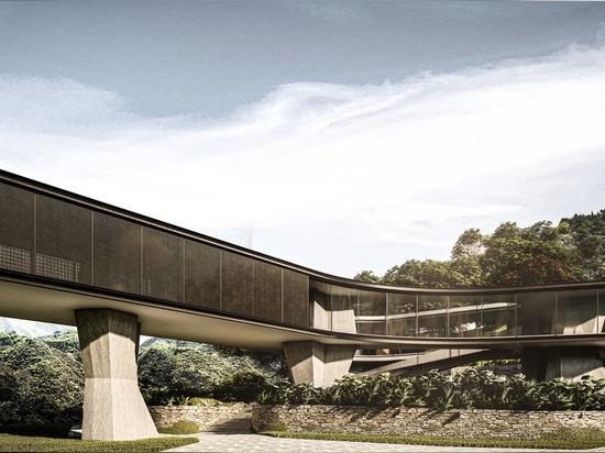 Thick concrete pillars support Tetro Arquitetura's Xingu house in Brazil