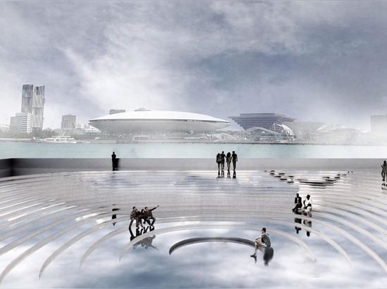 The 'submarine museum' emerges as a mirror-clad bridge over the Huangpu river in Shanghai