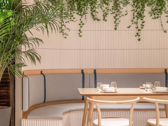 A Grid-Shaped Wood Ceiling Covers This Cafe In China