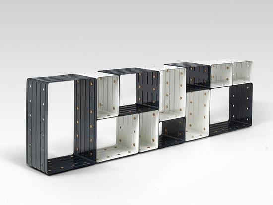 Marc Newson designs Quobus, an enameled steel bookshelf for Galerie Kreo