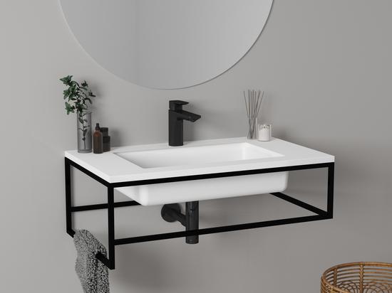 Black and white trend: black minimalist furniture + Surfaceplus washbasin
