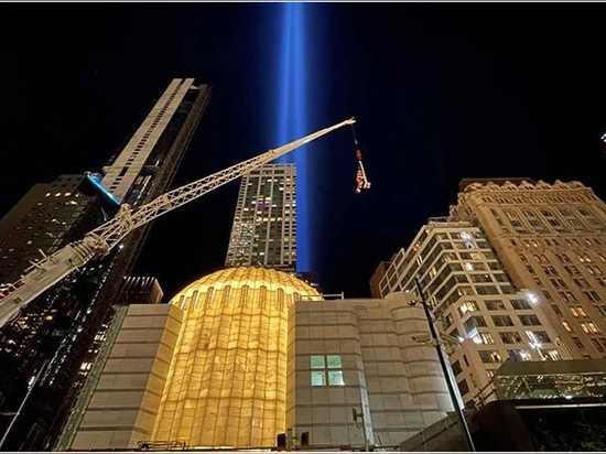 the church was illuminated for the first time on the 20th anniversary of 9/11