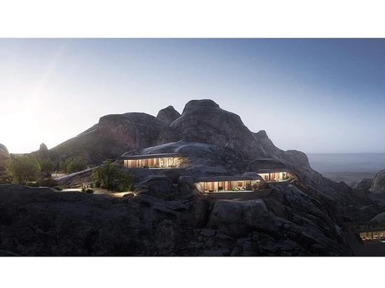 oppenheim architecture breaks ground on desert rock resort in the mountains of saudi arabia