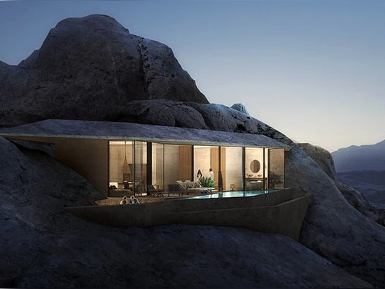 guests will be able to choose between crevice hotel suites, as well as excavated rooms within the rock itself