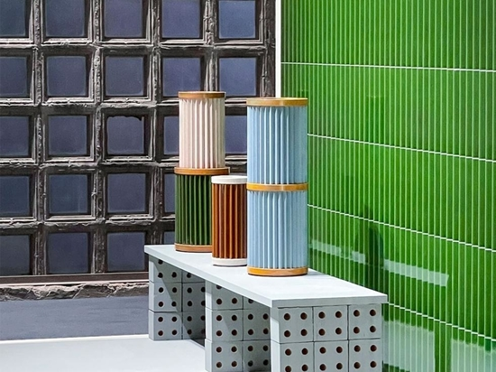 Shown at Mutina's headquarters in Fiorano Modenese, Ronan and Erwan Bouroullec's 'Ensemble', including 'Bloc' (used as base for the bench) and 'Rombini'