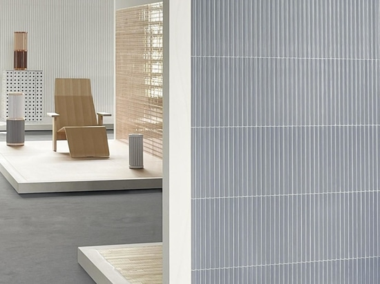 A display featuring the 'Ensemble' collection, including 'Bloc' and 'Rombini' (background), 'Punto' (middle), 'Rombini' and 'Pico Bois' (foreground)