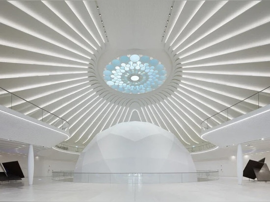 the interior is crowned with an oculus skylight