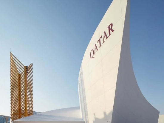 the qatar pavilion draws inspiration from the country's national emblem