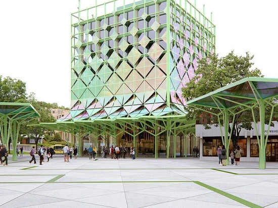 the façade is fitted with a sunshade system and solar panels that power the local smart grid