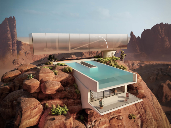 the 'oasis house' sits on top of a desert rock