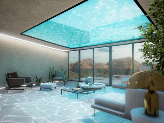 the swimming pool casts mesmerizing rippling visuals within the interior