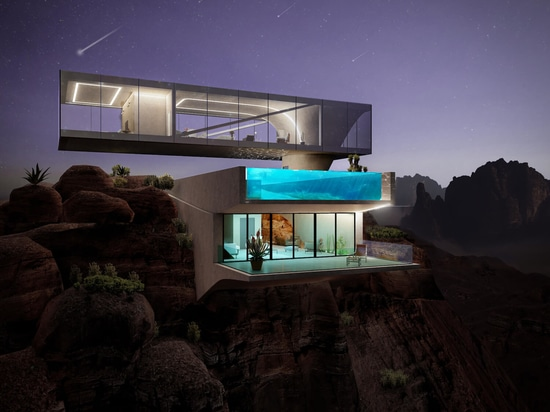 the 'oasis house' at night