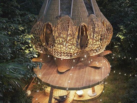 Lotus flower-like interwoven bamboo volumes shape Thilina Liyanage's dreamy getaway villas