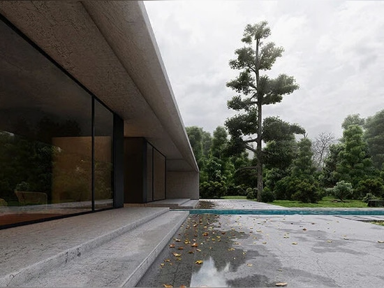 rainwater is channeled from the roof and courtyard into a water feature