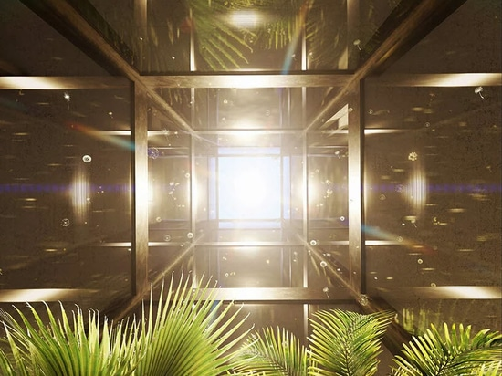 view from the central courtyard, through the atrium to the sky
