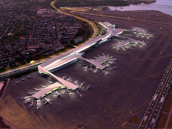 an aerial view reviews the fully integrated main terminal and space optimization