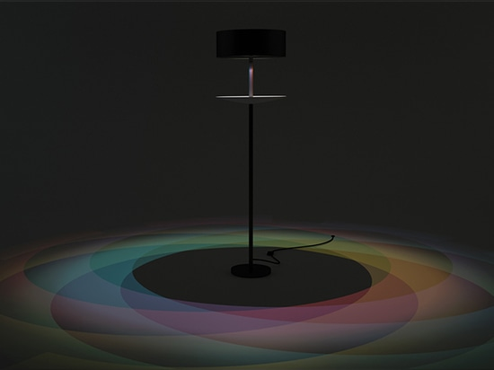 by placing seven different color LED bulbs on a disc, a rainbow pattern appears on the floor