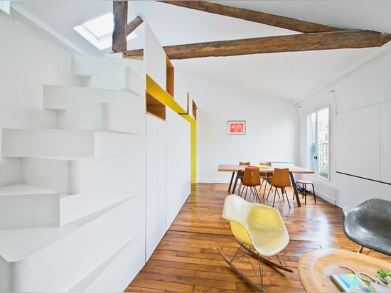the design team has renovated the parisian apartment of a young fashion designer
