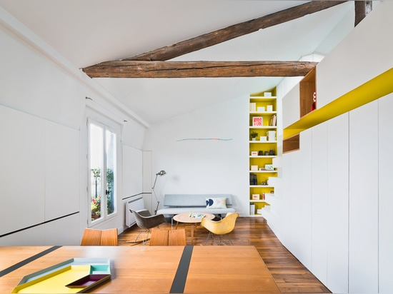 located in the city's historic montmartre district, the design consists of several partition removals