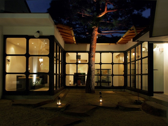 courtyards and plum trees surround the restaurant