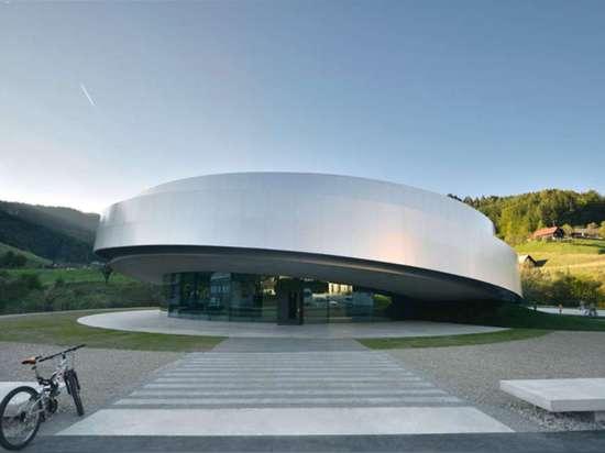 The Cultural Center of European Space Technologies by Bevk Perović arhitekti, SADAR + VUGA, OFIS architects, and dekleva gregoric architects, Vitanje, Slovenia