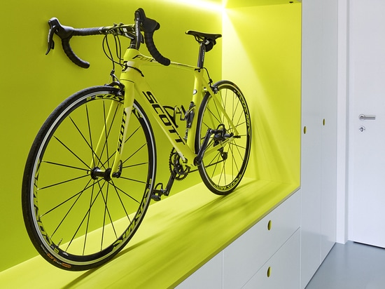 This guest apartment was designed for a cyclist.