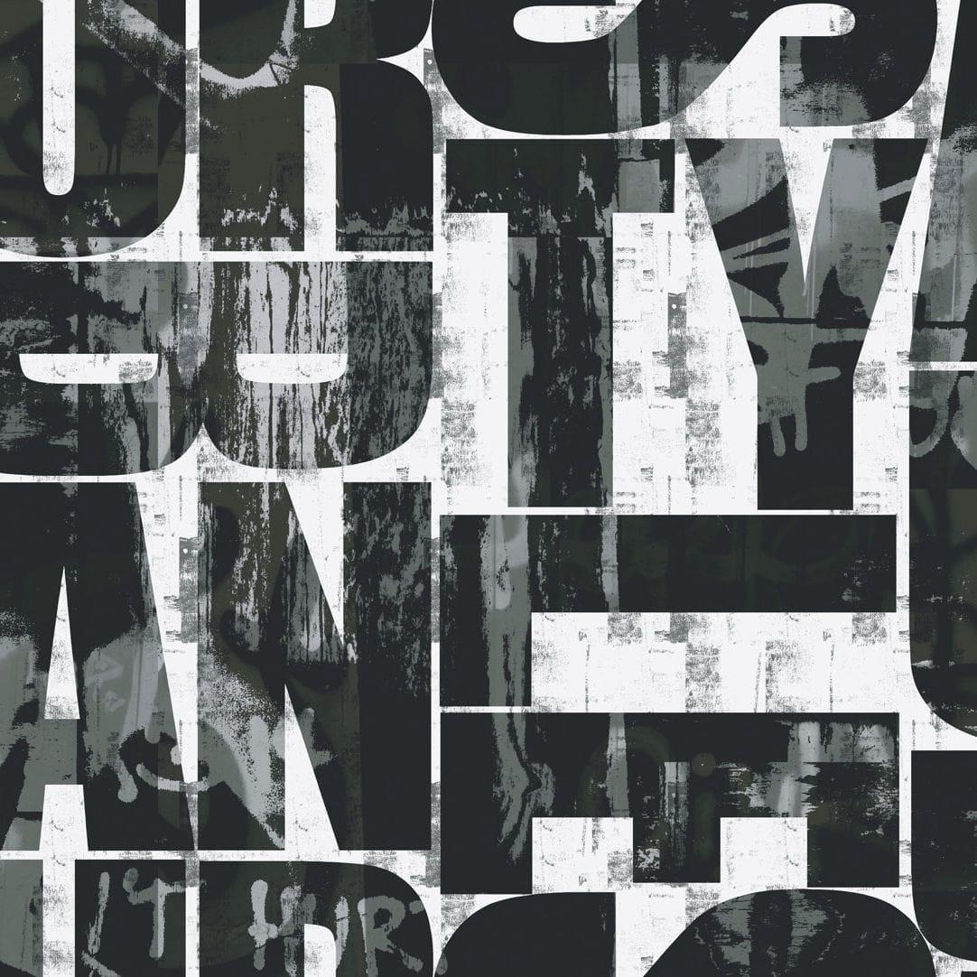 コンテンポラリー壁紙 幾何学 白 黒 Urban Eco