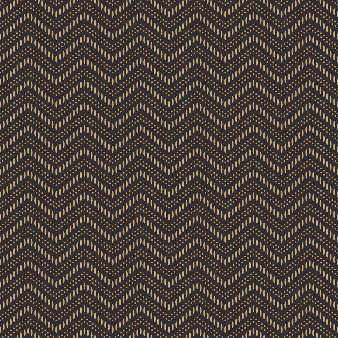 コンテンポラリー壁紙 波 モチーフ 黒 Chevron Dots Eco