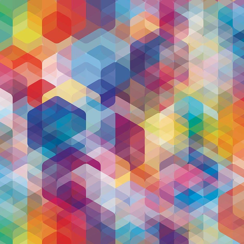 コンテンポラリー壁紙 幾何学模様 印字 Cuben Rounded Flavor