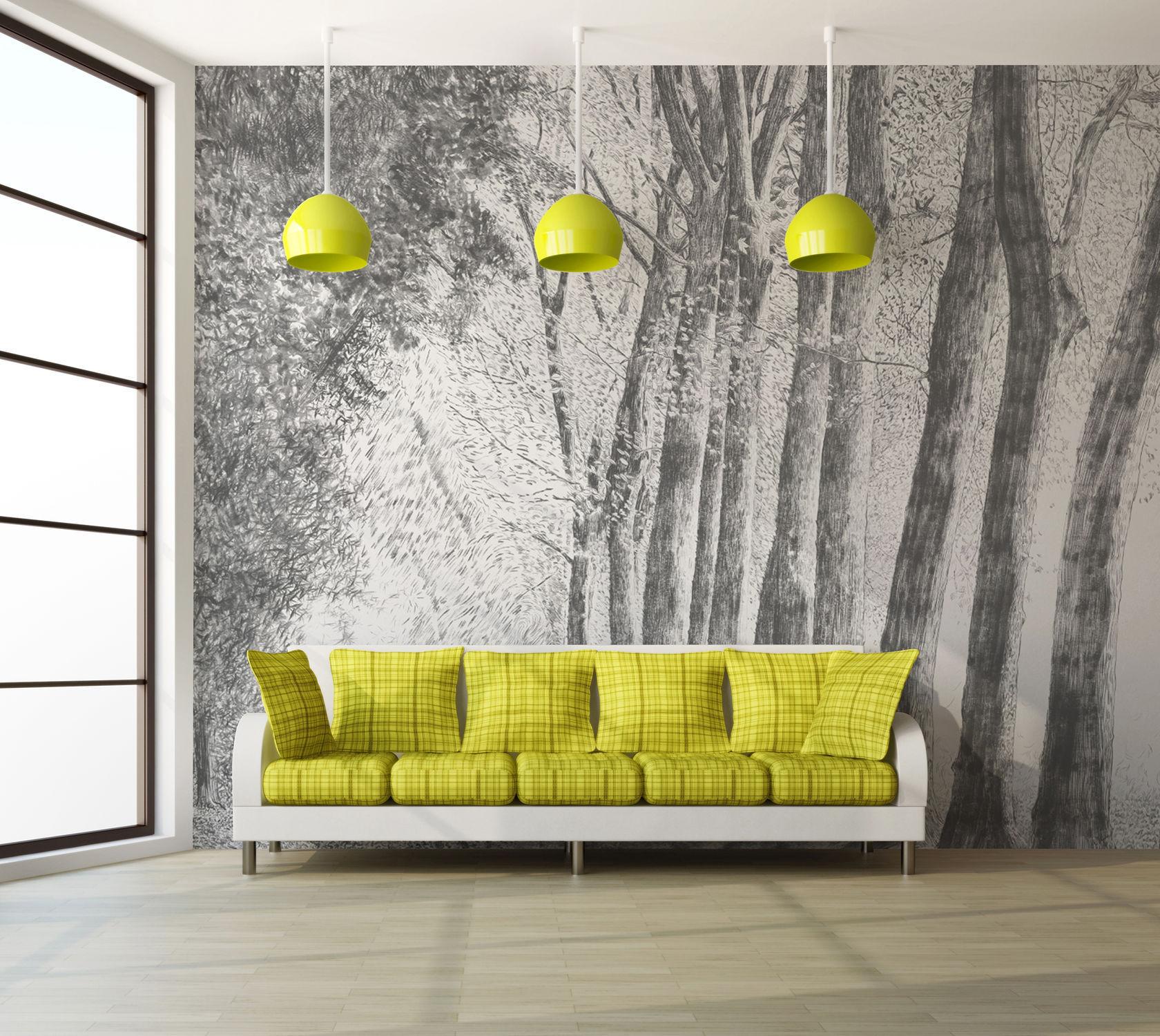 オリジナルデザイン壁紙 自然のモチーフ D219c Foret Au Crayon