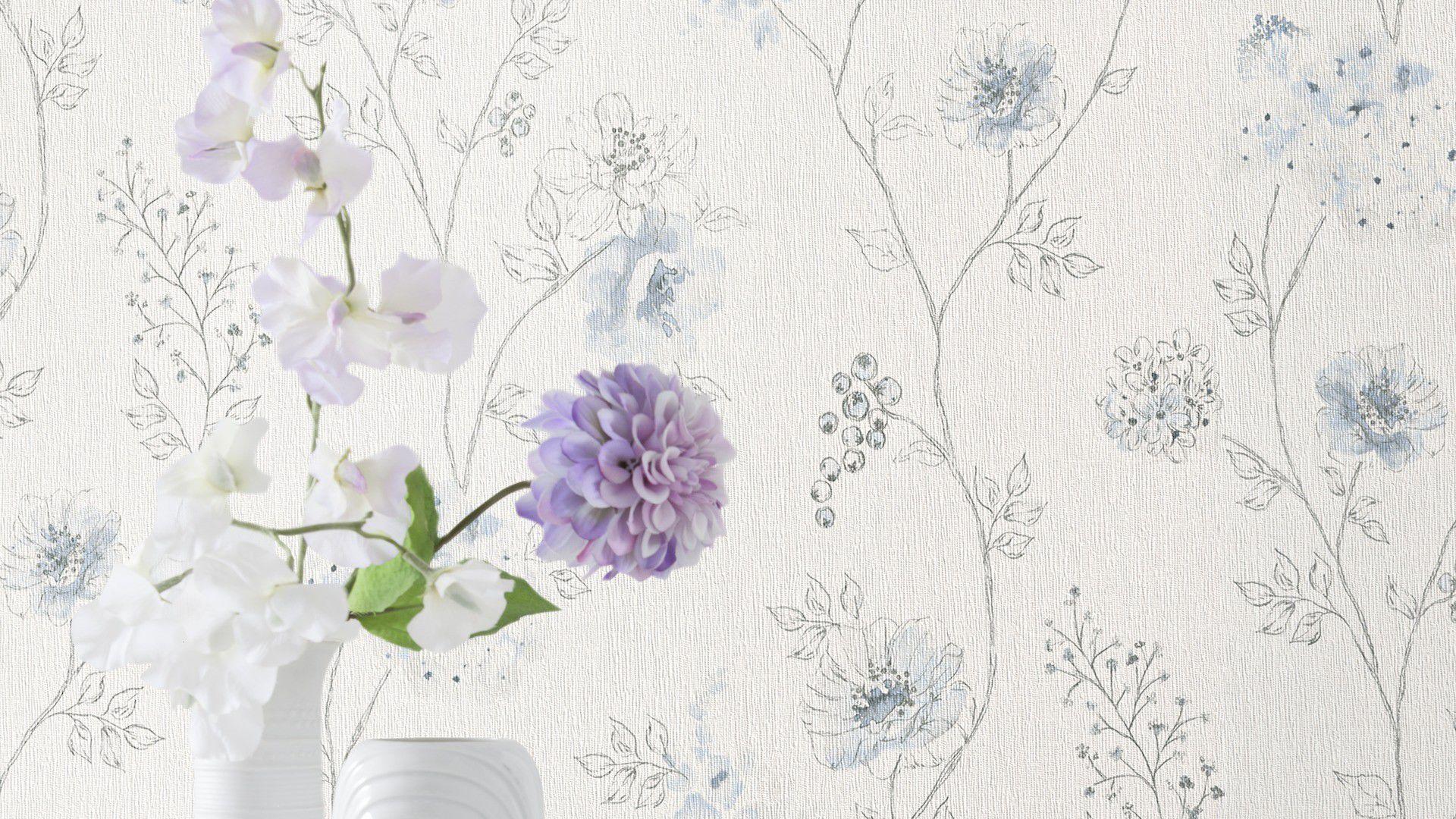 コンテンポラリー壁紙 布製 花柄 自然のモチーフ Amelie Rasch