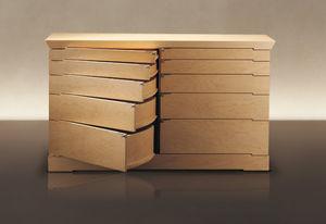 コンテンポラリーチェスト / クルミ材 / ソリッド ウッド(無垢材) / 楓材製