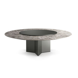 コンテンポラリーテーブル / 木製 / 大理石 / ガラス製