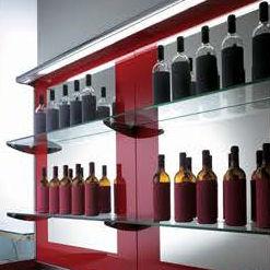 壁掛け式展示用ラック / ボトル / ガラス製 / バックライト付き