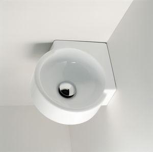 壁掛け式洗面器 / コーナー用 / セラミック / コンテンポラリー
