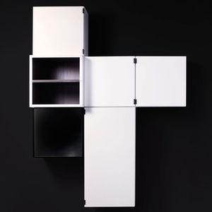 壁取り付け式棚 / モジュール式 / コンテンポラリー / 漆塗りを施したMDF