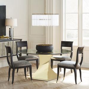 伝統的食卓テーブル / 硬化ガラス製 / 円形 / 高さ調節可