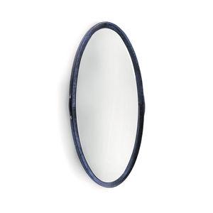壁掛け鏡 / コンテンポラリー / 楕円形 / レザー