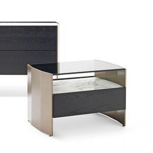 コンテンポラリーベッドテーブル / 木製 / 金属製 / ガラス製