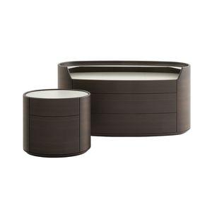 コンテンポラリーベッドサイドテーブル / オーク材 / クルミ材 / ニレ材製