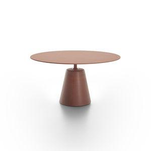 コンテンポラリー食卓テーブル / オーク材 / MDF / スモークガラス製