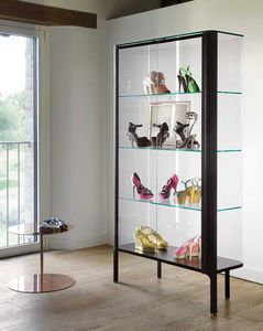 コンテンポラリー展示ケース / 脚上 / ガラス製 / アルミ製